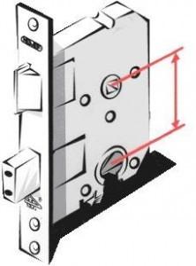 Visuele voorstelling van de doornmaat en PC-maat van een slot