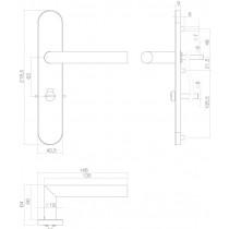 Intersteel Deurkruk Hoek 90° op schild toilet-/badkamersluiting 63 mm rechts rvs geborsteld