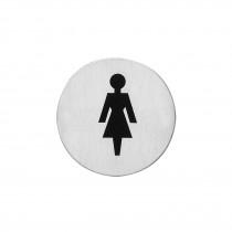 Intersteel Pictogram damestoilet zelfklevend rond rvs geborsteld