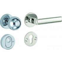 SKG3 knop/kruk op rozet rechts Padania/Elegant m/ KTB glans nikkel / glans chroom