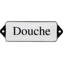Emaille Tekst Douche 8x3cm wit/zwart