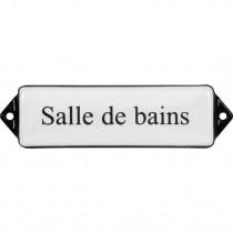 Emaille Tekst Salle de bains 10x3cm wit/zwart