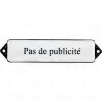 Emaille Tekst Pas de publicite 12x3cm wit/zwart
