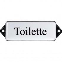 Emaille Tekst Toilette 8x3cm wit/zwart