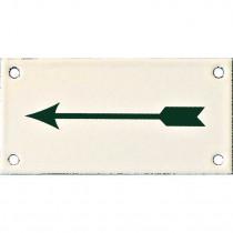 Emaille Picto Pijl 6x12cm ivoor/groen